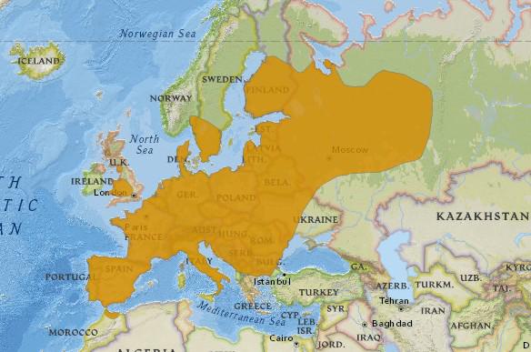 Aire de répartition globale du Putois d'Europe d'après les données de l'UICN