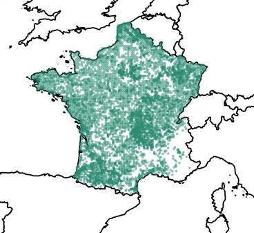 Répartition des 23 049 données de 2000 à 2021 recensées par l'Inventaire national du patrimoine naturel (Source : OpenObs consulté le 19 avril 2021).
